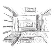 Room interior sketch Royalty Free Stock Image