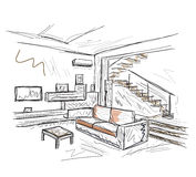 Room interior sketch Royalty Free Stock Photos