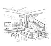 Room interior sketch Stock Photography