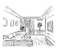 Room interior sketch Royalty Free Stock Images