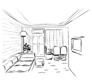 Room interior sketch Stock Photo