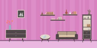 Room interior with  sofa  the striped striped pink wall stock illustration