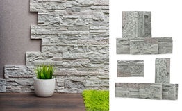Room interior with stone wall Royalty Free Stock Photography