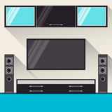Room interior with television. trendy flat style with long shadows Royalty Free Stock Image
