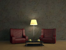 Room interior with two chairs Stock Photo