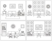 Living room interiors. Retro linear vector illustration. Stock Photo