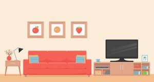 Living room interior. Vector illustration. Flat design