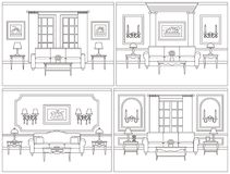 Living room interior in line art flat style. Vector illustration Royalty Free Stock Image