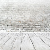 Room interior with white brick wall and wood floor Stock Photography