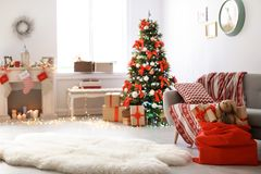 Free Room Interior With Christmas Tree And Santa`s Bag Stock Photo - 120443450
