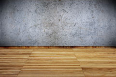 Room interior with wooden floor and concrete walls Royalty Free Stock Photos