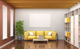 Room interior with yellow sofa, large windows, Stock Photography