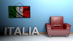 Room of Italy - 3D rendering. In a room there is a red glossy armchair. At the blue wall a picture of the italian flag is hanging and at the pavement there is a Royalty Free Stock Photo