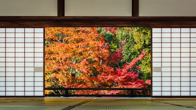 A room with a Japanese garden view. At Tenryu-ji Temple in autumn in Kyoto Royalty Free Stock Photos