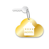 Room key. With golden keychain 4 **** Hotel isoltated on white background Royalty Free Stock Image
