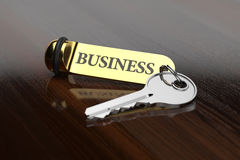 Room key with golden keychain business concept Stock Photography