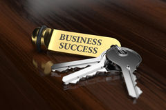Room key with golden keychain business success concept Royalty Free Stock Photos