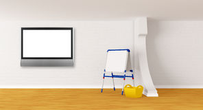 Room with kid's board and lcd tv Royalty Free Stock Image