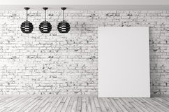 Room with lamps and poster background 3d rendering Royalty Free Stock Images