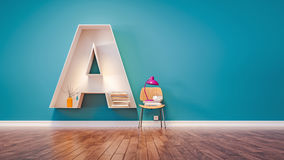 room for learning the letter a has designed a bookshelf 3d rend royalty free stock