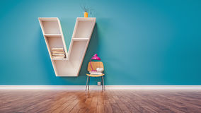 room for learning the letter v has designed a bookshelf stock images