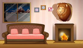 A room with a lion wall decor Stock Image
