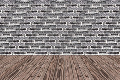 Room Made from Black brick wall and Wood Floor Royalty Free Stock Photos
