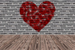 Room Made from Black brick wall and Wood Floor and Painted Red Heart Shape Stock Photography