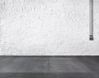 Room Made of Brick Wall and Concrete Floor Royalty Free Stock Images