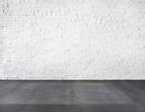 Room Made of Brick Wall and Concrete Floor Stock Photography