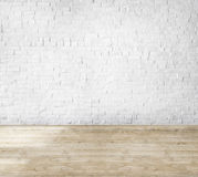 Room Made of Brick Wall and Wooden Floor Stock Photos