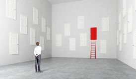 Room with many doors. Businesswoman standing in room with many white doors, one red, ladder at it, Concept of choice Royalty Free Stock Photos