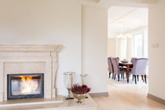 Room with marble fireplace Royalty Free Stock Photo