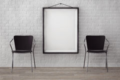Room with Modern Chairs and Blank Picture. Extreme closeup Royalty Free Stock Photo