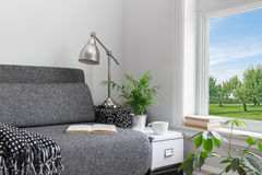 Room with modern decor and beautiful view. Over green garden Royalty Free Stock Photography