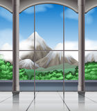 Room with mountain view Stock Images