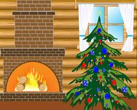 Room with natty fir tree. Room with heater and festive fir tree with toy Stock Photos