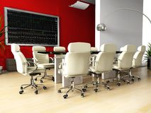 Room of negotiation in office. Room of negotiation at office in Verde 3d image Royalty Free Stock Photo