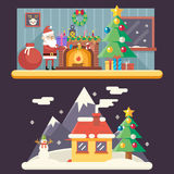 Room New Year House Landscape Santa Claus Accessories. Icons Greeting Card Elements Flat Template Vector Illustration Royalty Free Stock Image
