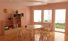 Room, nice interior, with table and chairs Royalty Free Stock Photo