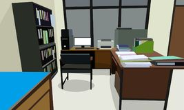 Room office workplace design interior with cabinet, table chair book, bookcase and wall Cream color. vector illustration.  Stock Photography