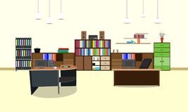 Room office workplace design interior with cabinet, table, chair, book, bookcase and wall. vector illustration.  Royalty Free Stock Photo
