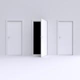 Room with open door. 3d illustration. Stock Photos