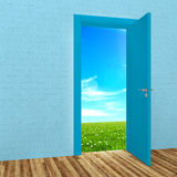 Room with open door. To field Stock Photography