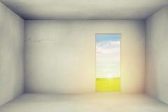 Room with open door to the field Stock Photos