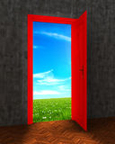 Room with open red door. To field Stock Images