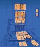 Room with outside lighting stock illustration