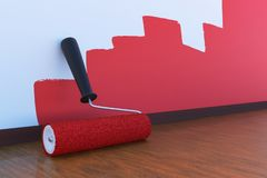 Room painting concept. Paint roller with red color indoors. 3D rendered illustration. stock photos