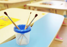 In a room for painting in kindergarten Stock Images