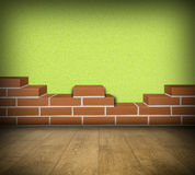 Room with partially built brickwall Royalty Free Stock Photography